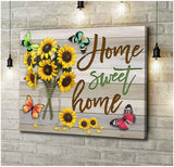 Zalooo Home Sweet Home Butterfly Wall Art Canvas - Zalooo.com Custom Wall Art Canvas