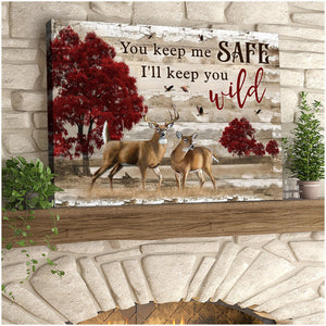 Zalooo I Will Keep You Wild Buck And Doe Canvas Wall Art Decor