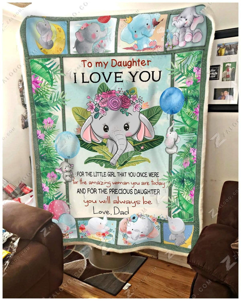 Blanket Elephant To My Daughter You Will Always Be Love Dad - Zalooo.com Custom Wall Art Canvas