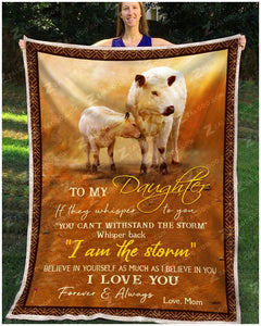 Blanket British White Cow To My Daughter Love Mom - Zalooo.com Custom Wall Art Canvas