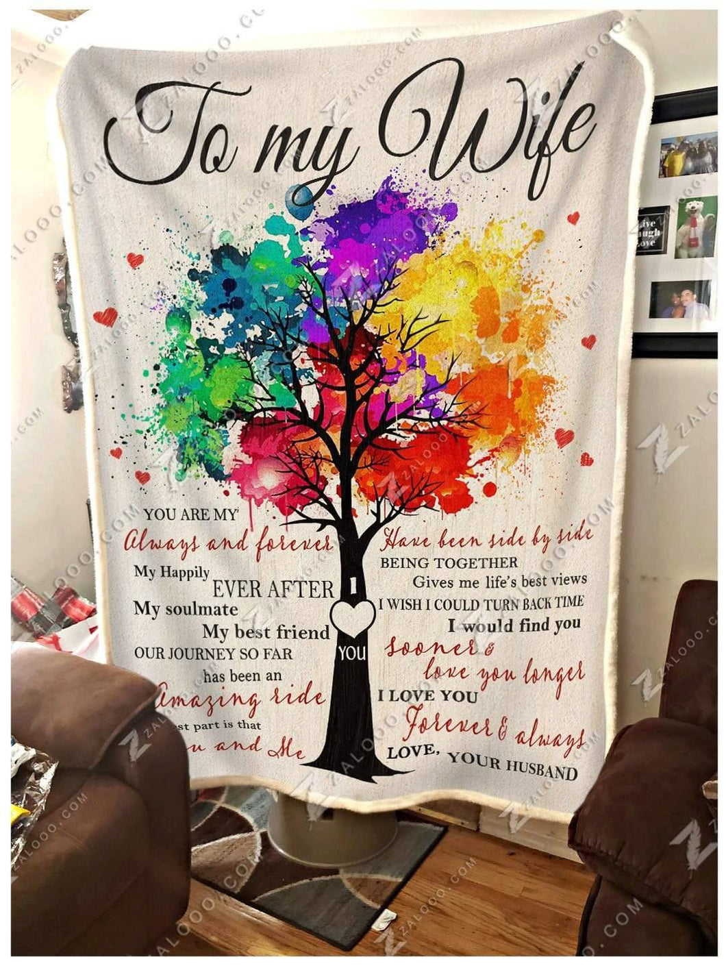 Blanket Family To My Wife You & Me - Zalooo.com Custom Wall Art Canvas