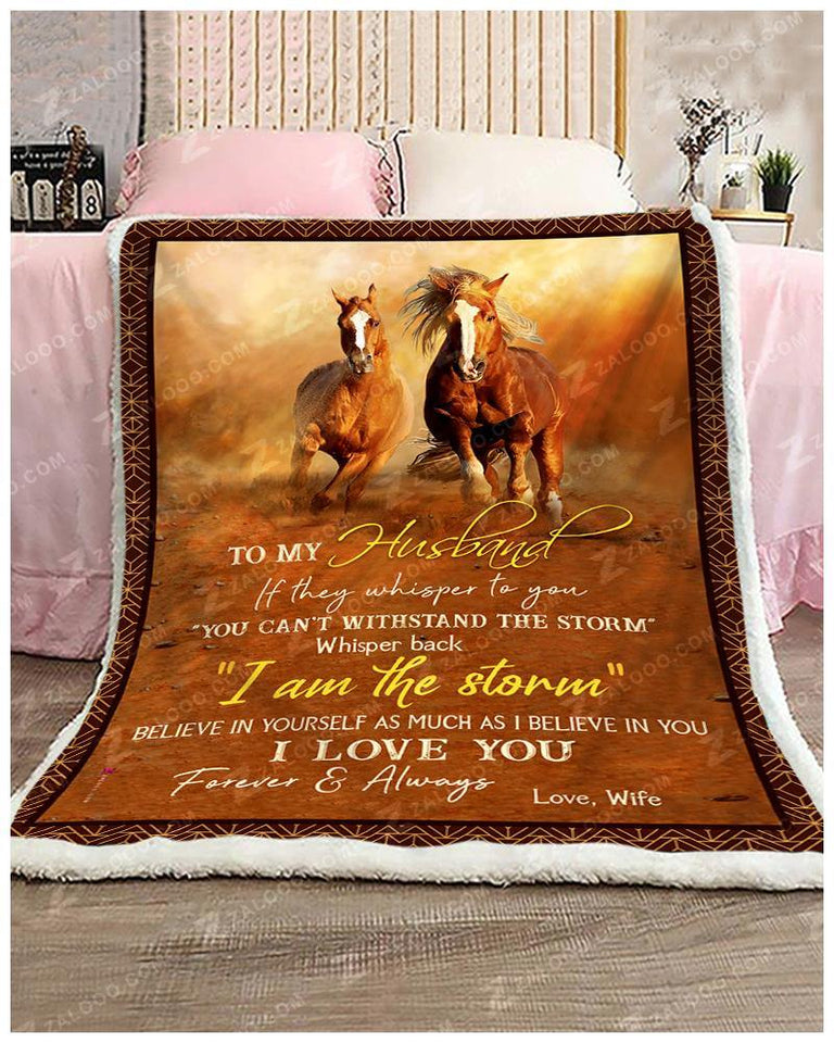 Blanket Horse To My Husband Love Wife - Zalooo.com Custom Wall Art Canvas