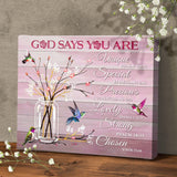 Zalooo God Says You Are Hummingbird Canvas Wall Art Floral Decor