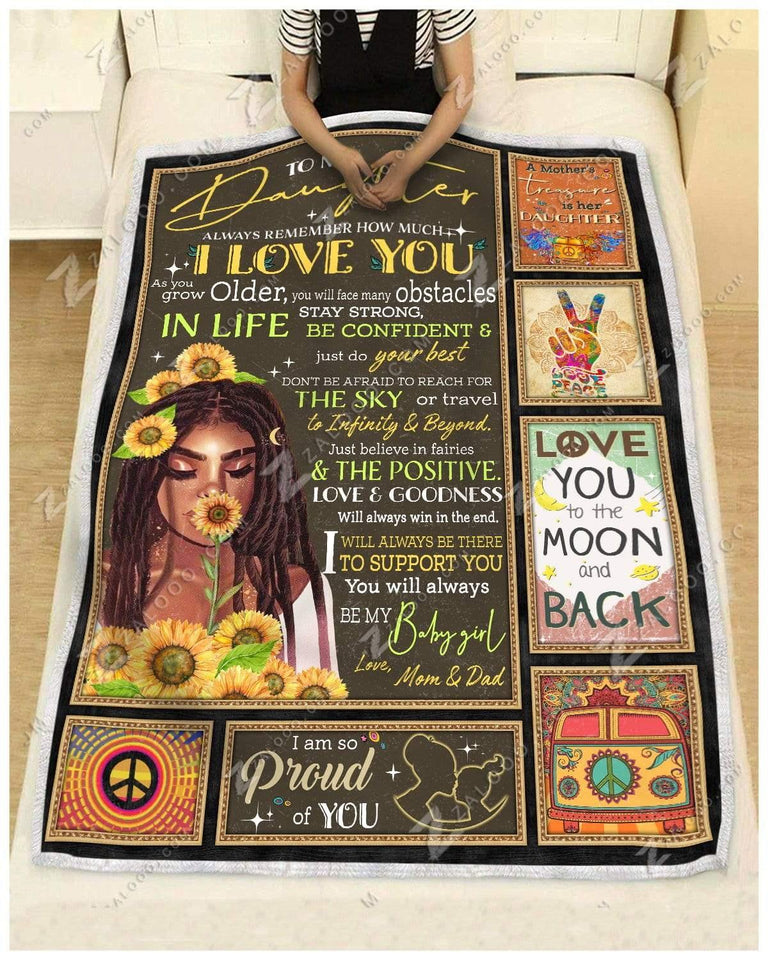Blanket - Black Hippe - To My Daughter - Love Mom & Dad