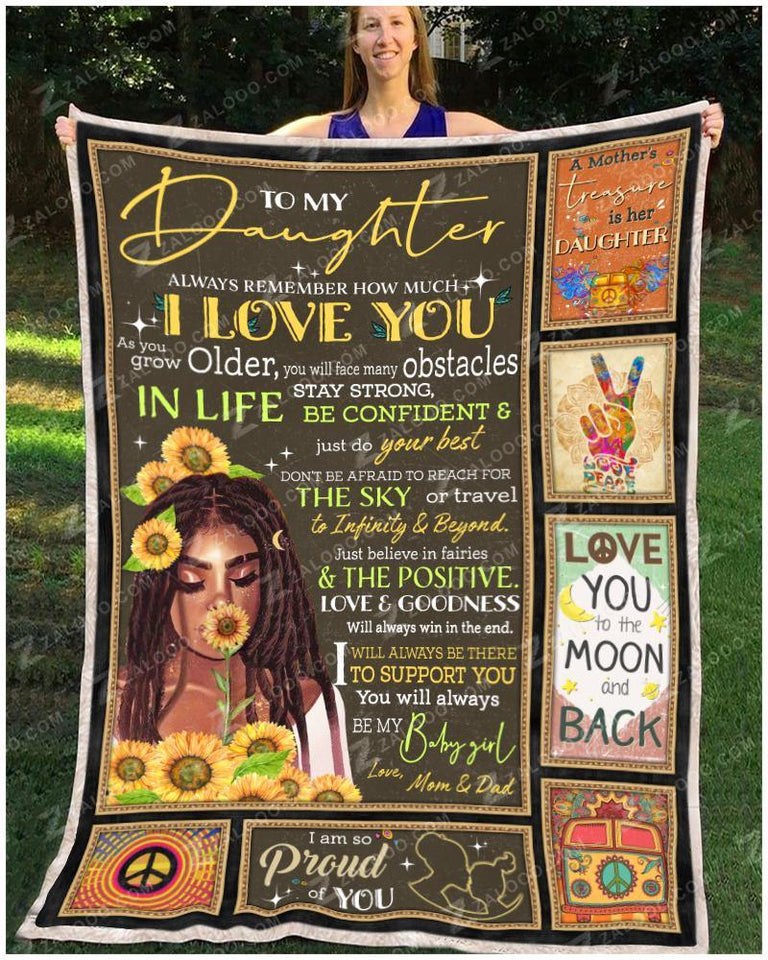 Blanket Black Hippe To My Daughter Love Mom & Dad - Zalooo.com Custom Wall Art Canvas