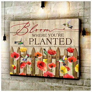 Zalooo Bloom Where You Are Planted Hummingbird Wall Art Floral Decor