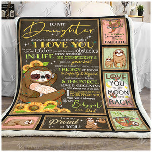 Blanket - Sloth - Be My Baby Girl - Love Dad