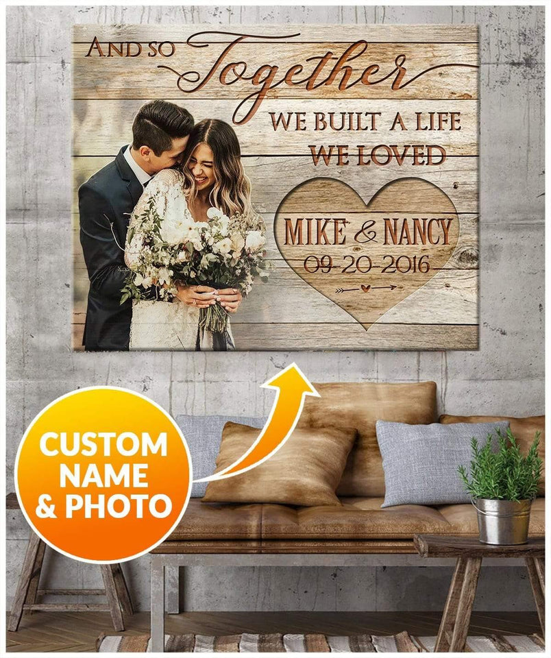 Zalooo And So Together Personalized Name And Photo Wedding Wall Art Canvas - Zalooo.com Custom Wall Art Canvas