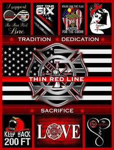 BLANKET Firefighter Thin Red Line.