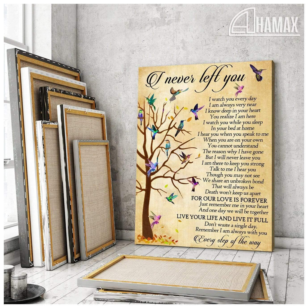 Zalooo I Never Left You Hummingbird Wall Art Canvas - Zalooo.com Custom Wall Art Canvas