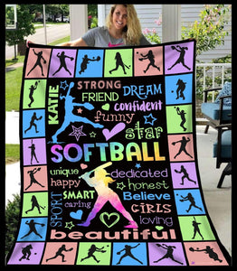 Blanket - Softball - Beautiful - Katie - yenyenstore