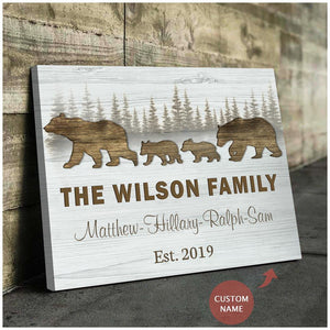 Zalooo Family Bear Personalized Name And Date Wall Art Canvas