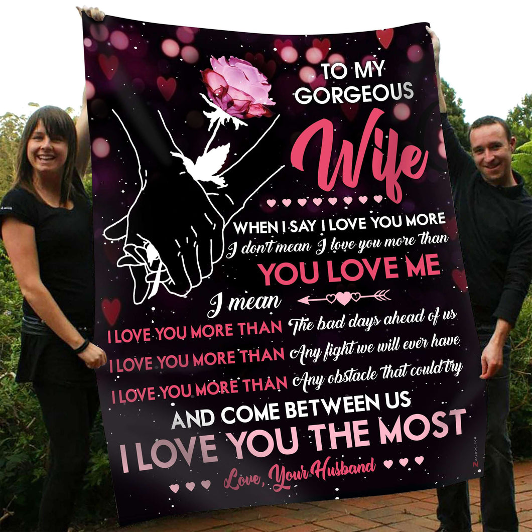 Fleece Blanket - To my Wife - I love you more than - yenyenstore