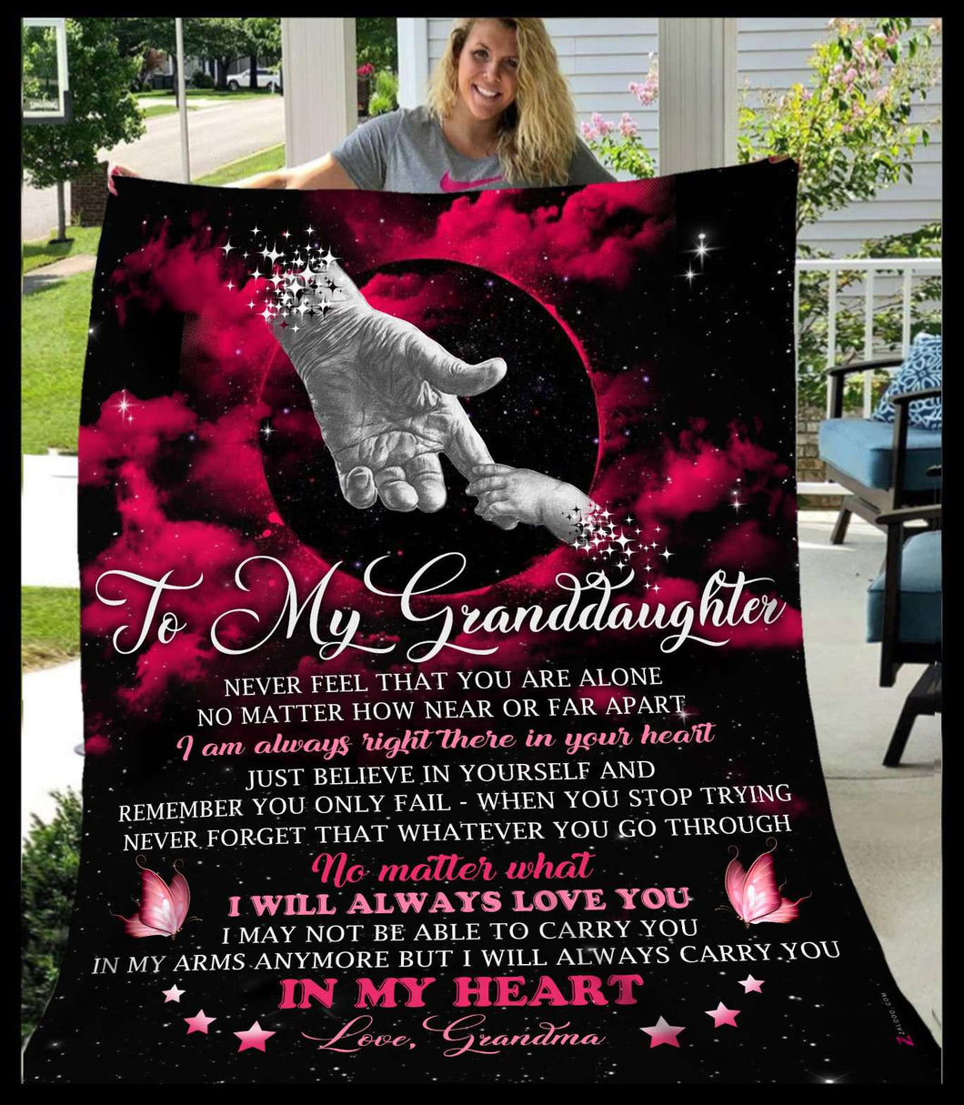 Fleece Blanket - Granddaughter - In my heart - yenyenstore