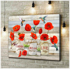 Zalooo Live Today Poppy Flowers Hummingbird Wall Art Canvas - Zalooo.com Custom Wall Art Canvas