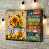 Zalooo Every Day Is A New Beginning Take A Deep Breath Smile And Start Again Sunflower Hummingbird Canvas Wall Art Floral Decor