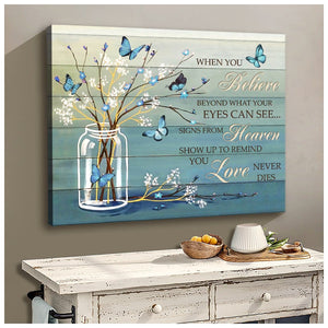 Zalooo When You Believe Blue Flowers Butterfly Canvas Wall Art Decor