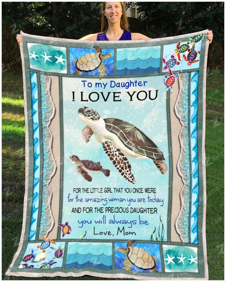 Blanket Turtle To My Daughter You Will Always Be - Zalooo.com Custom Wall Art Canvas