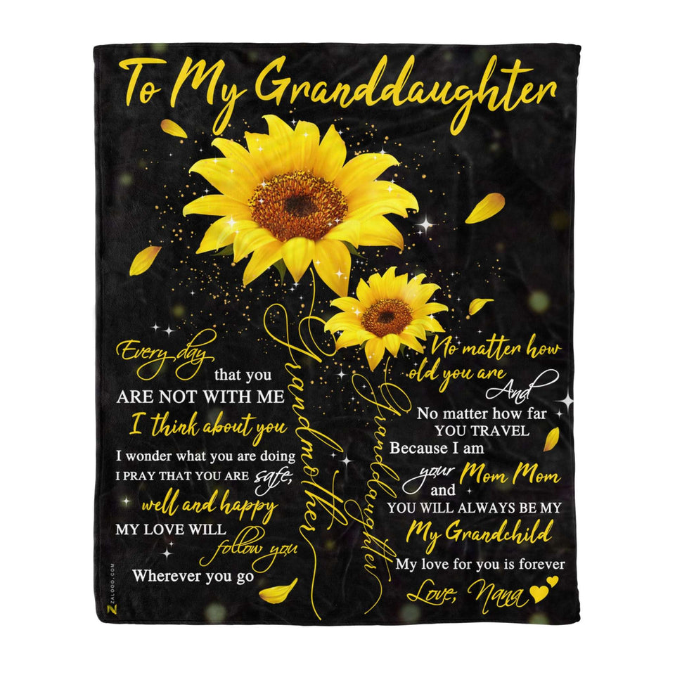 Fleece Blanket - To my Granddaughter - I think about you - yenyenstore