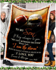 Blanket Football To My Son I Love You - Zalooo.com Custom Wall Art Canvas
