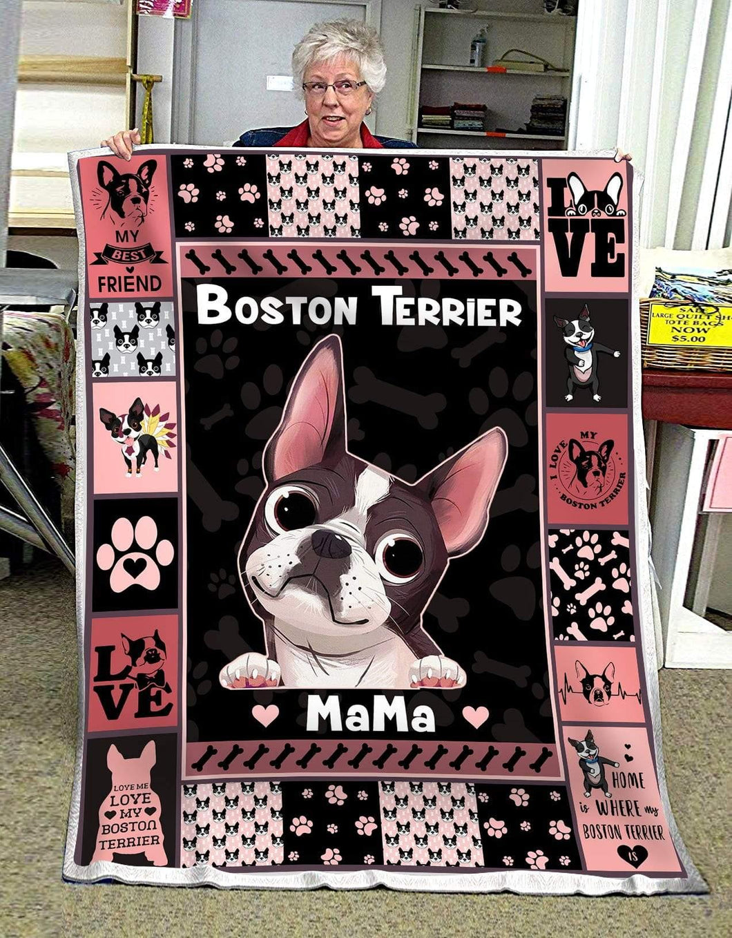 Blanket - Dog -  Boston Terrier Mama