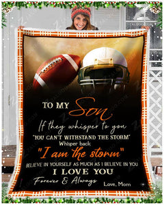 Football Blanket - To My Son - I Love You