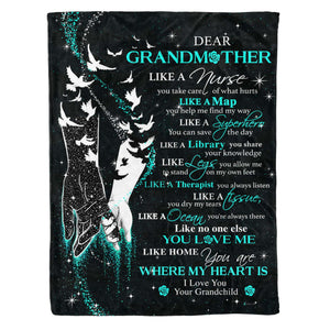 Fleece Blanket - GRANDMOTHER - You Are Where My Heart Is (Teal) - yenyenstore