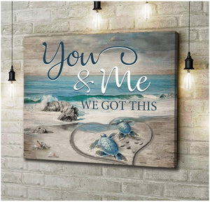 Zalooo You And Me Personalized Name & Date Turtle Wall Art Canvas