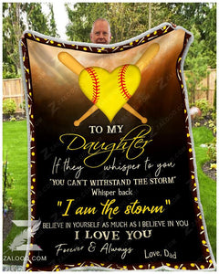 Blanket - Softball - To My Daughter - I Love You(Dad)