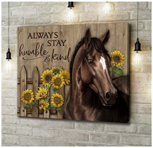 Canvas Horse Always Stay Humble & Kind - Zalooo.com Custom Wall Art Canvas