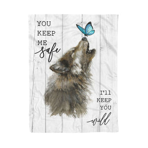 Fleece Blanket - Wolf - I'll Keep You Wild - yenyenstore