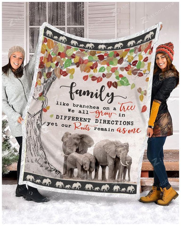 Blanket Elephant Family - Zalooo.com Custom Wall Art Canvas