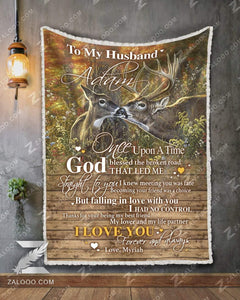 BLANKET DEER To my Husband (Adam) God Blessed The Broken Road - Zalooo.com Custom Wall Art Canvas
