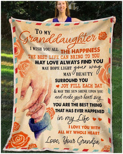 BLANKET GRANDDAUGHTER (Grandpa) I Wish You - Zalooo.com Custom Wall Art Canvas