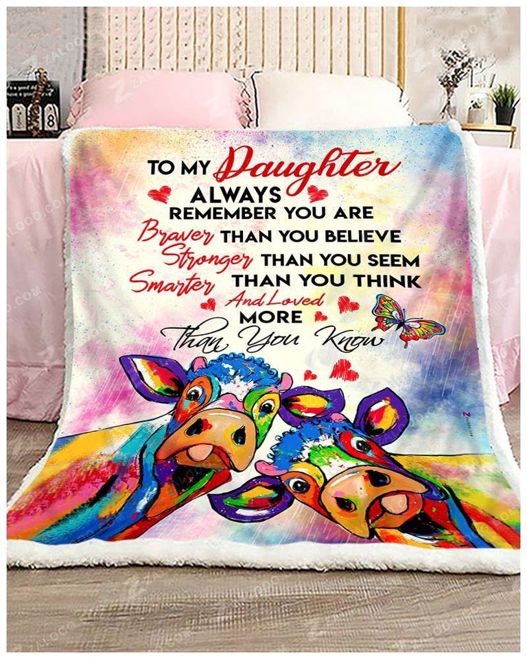 BLANKET COW DAUGHTER You are loved more than you know - Zalooo.com Custom Wall Art Canvas
