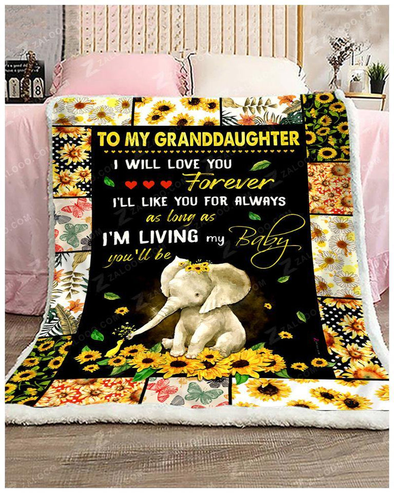BLANKET ELEPHANT Granddaughter I Will Love You Forever - Zalooo.com Custom Wall Art Canvas