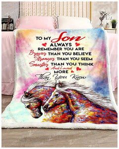 BLANKET HORSE Son You are loved more than you know - Zalooo.com Custom Wall Art Canvas