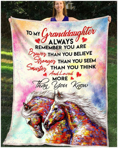 BLANKET HORSE Granddaughter You are loved more than you know - Zalooo.com Custom Wall Art Canvas
