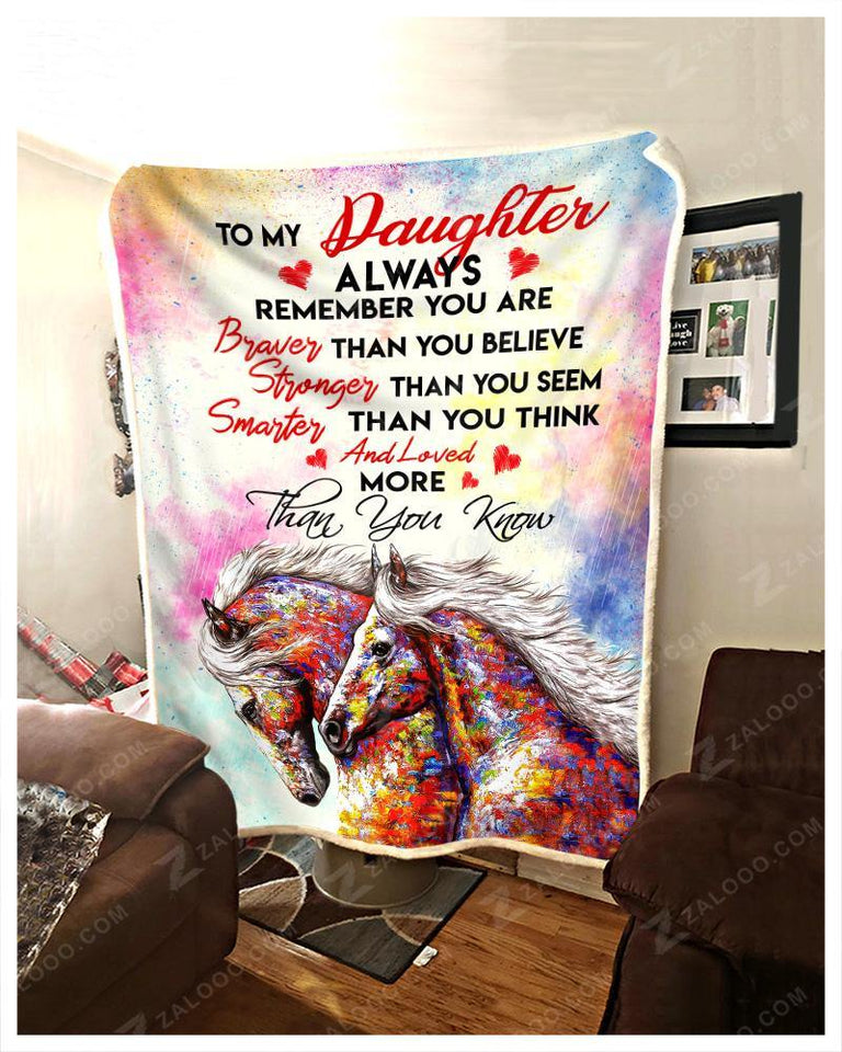 BLANKET HORSE Daughter You are loved more than you know - Zalooo.com Custom Wall Art Canvas