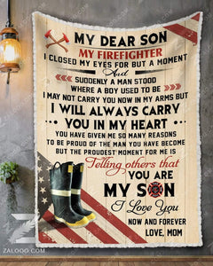 BLANKET - FIREFIGHTER - Son (Mom) - I closed my eyes
