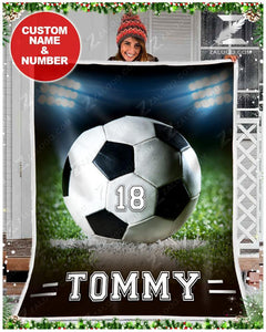 Custom Fleece Blanket - SOCCER - Light