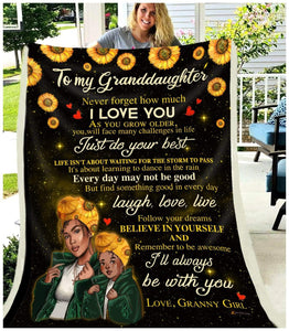BLANKET BLACK Granddaughter (Granny Girl) I'll always be with you - Zalooo.com Custom Wall Art Canvas