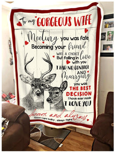 Blanket Deer To my Wife Meeting you was fate