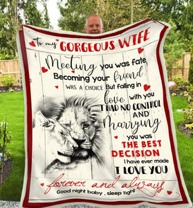 BLANKET LION To my Wife Meeting you was fate