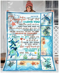 Blanket Turtle To My Daughter I'll Always Be There - Zalooo.com Custom Wall Art Canvas