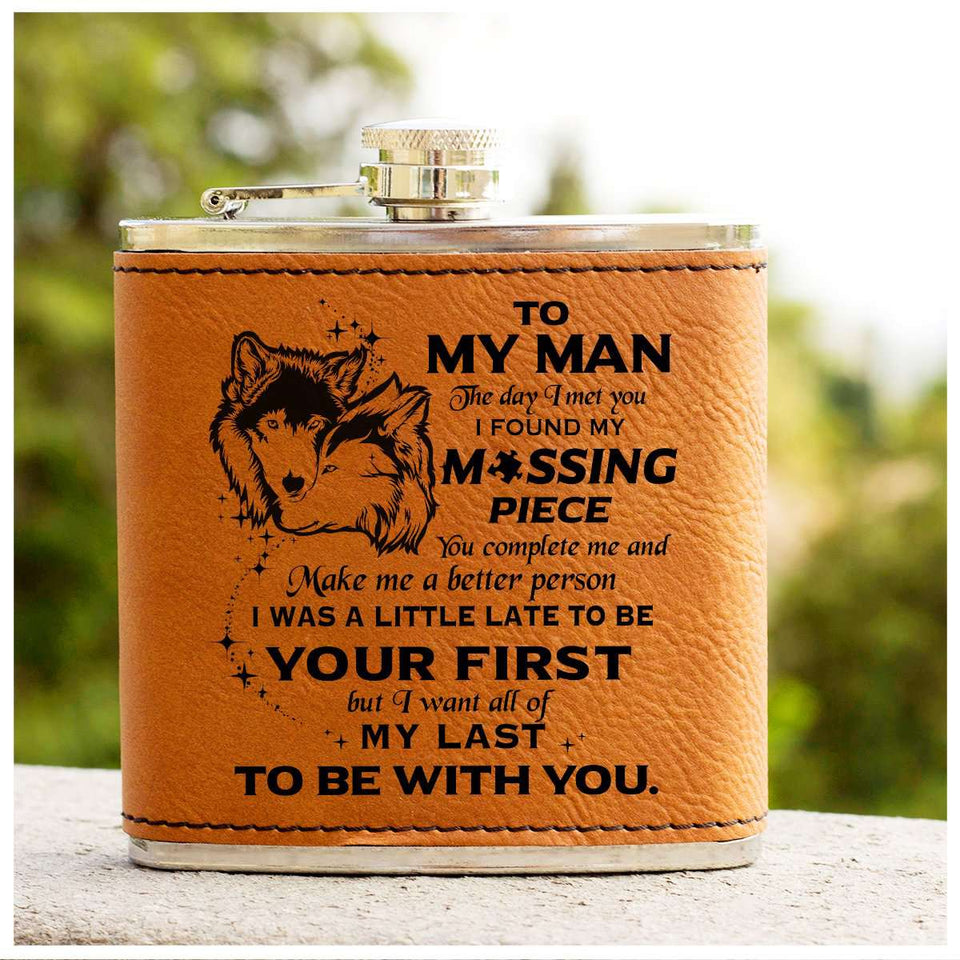 Leather Flask - To My Man - Missing Piece - yenyenstore