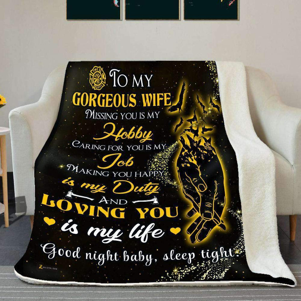 BLANKET - Firefighter - To my wife - Loving you is my life - yenyenstore