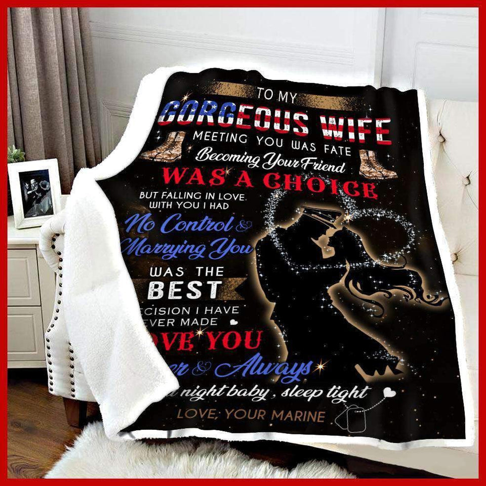 BLANKET - Marine - To my wife - Meeting you was fate - yenyenstore