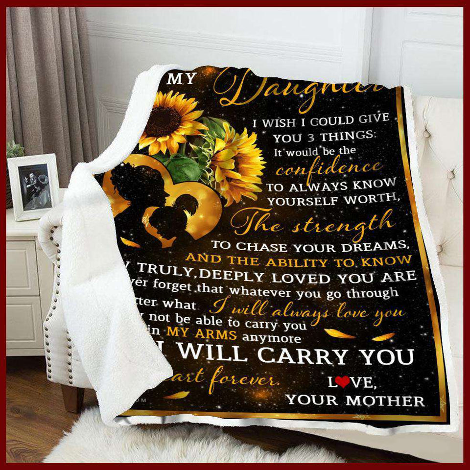 Blanket - To my daughter - I wish I could give - yenyenstore