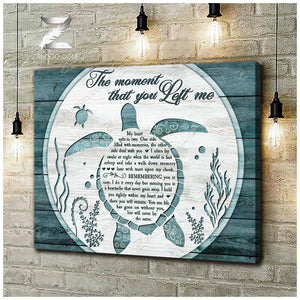 Zalooo The moment that you left me Turtle Canvas Wall Art Beach Decor